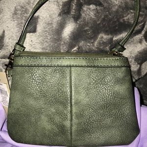 Wilson Leather Olive Green Leather Wristlet NWT